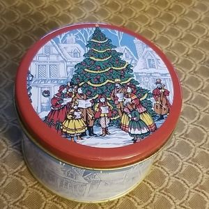 4 inch vintage Christmas tin with coasters